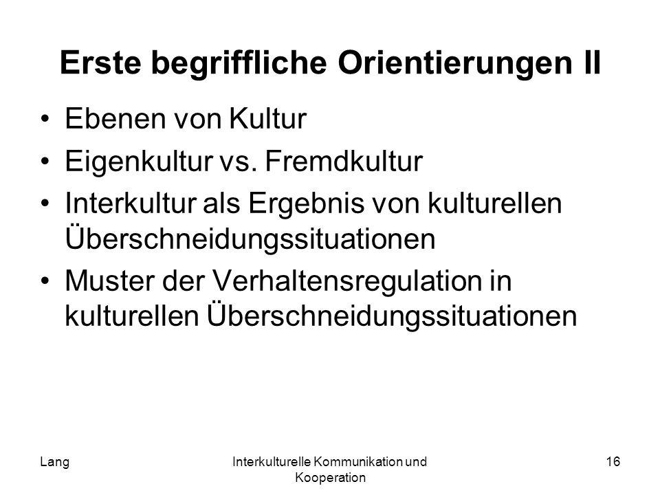 LangInterkulturelle Kommunikation und Kooperation 16 Erste begriffliche Orientierungen II Ebenen von Kultur Eigenkultur vs. Fremdkultur Interkultur al
