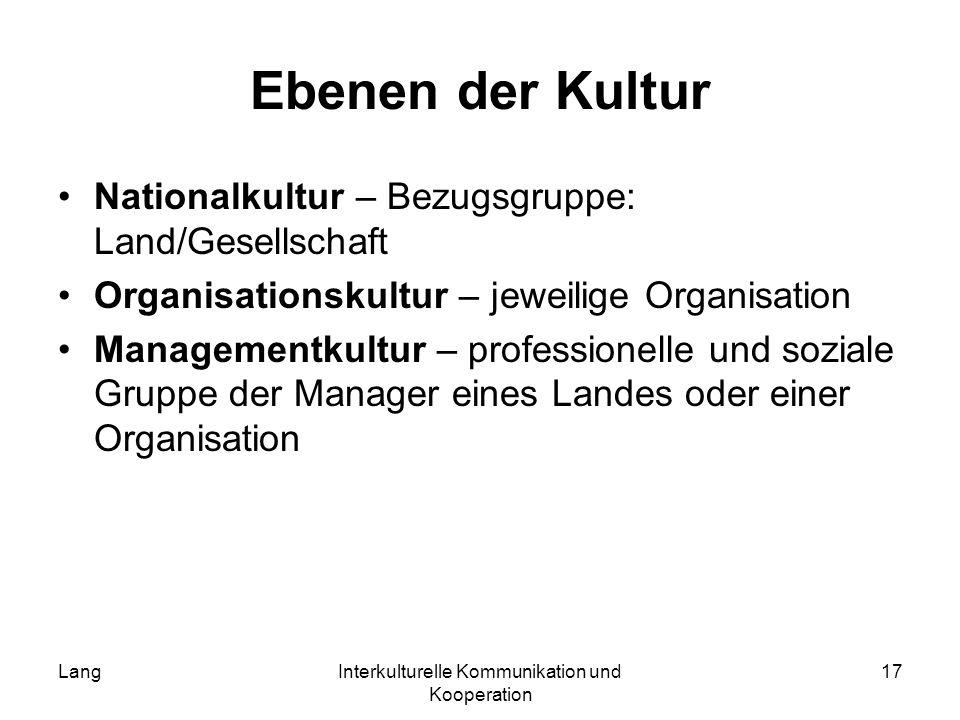 LangInterkulturelle Kommunikation und Kooperation 17 Ebenen der Kultur Nationalkultur – Bezugsgruppe: Land/Gesellschaft Organisationskultur – jeweilig