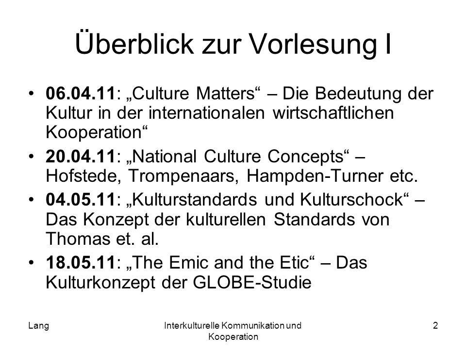 LangInterkulturelle Kommunikation und Kooperation 2 Überblick zur Vorlesung I 06.04.11: Culture Matters – Die Bedeutung der Kultur in der internationa