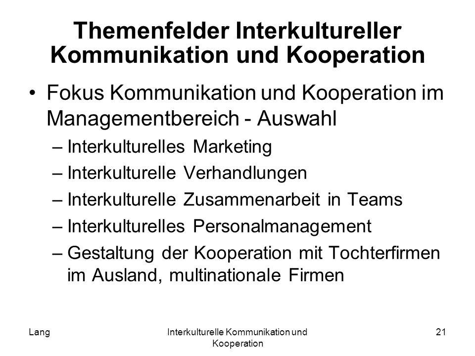 LangInterkulturelle Kommunikation und Kooperation 21 Themenfelder Interkultureller Kommunikation und Kooperation Fokus Kommunikation und Kooperation i