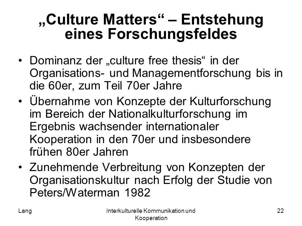 LangInterkulturelle Kommunikation und Kooperation 22 Culture Matters – Entstehung eines Forschungsfeldes Dominanz der culture free thesis in der Organ