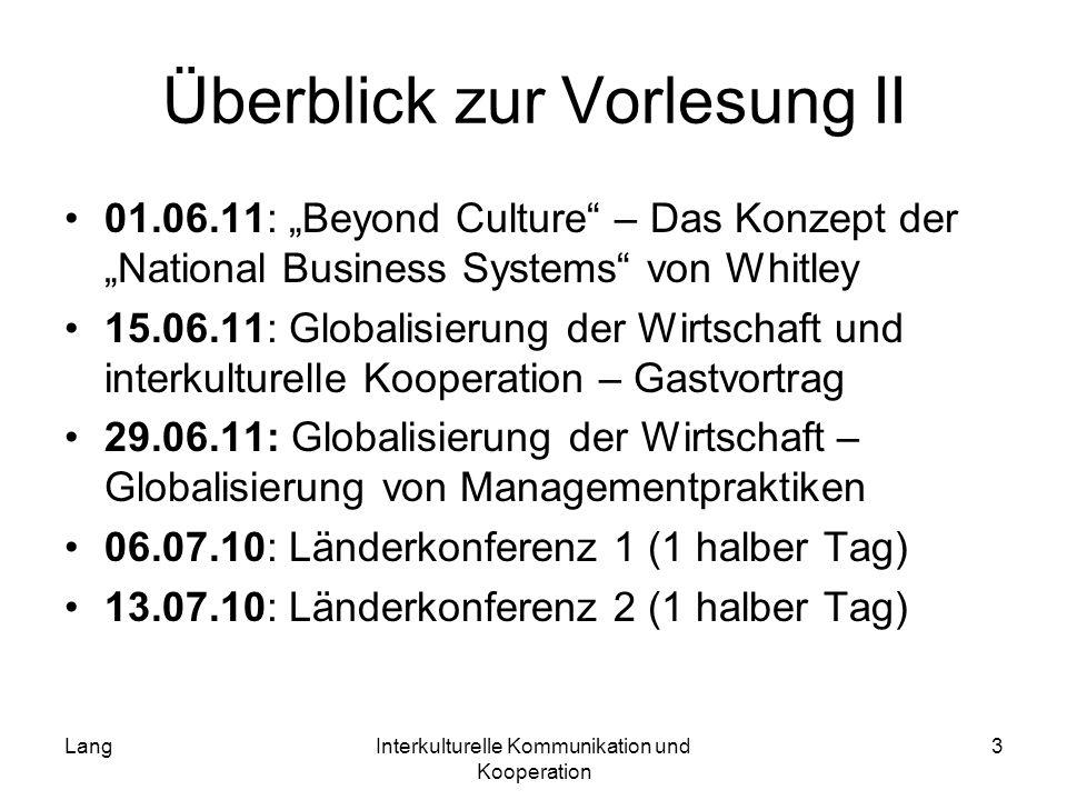 LangInterkulturelle Kommunikation und Kooperation 3 Überblick zur Vorlesung II 01.06.11: Beyond Culture – Das Konzept der National Business Systems vo