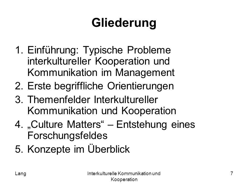 LangInterkulturelle Kommunikation und Kooperation 7 Gliederung 1.Einführung: Typische Probleme interkultureller Kooperation und Kommunikation im Manag
