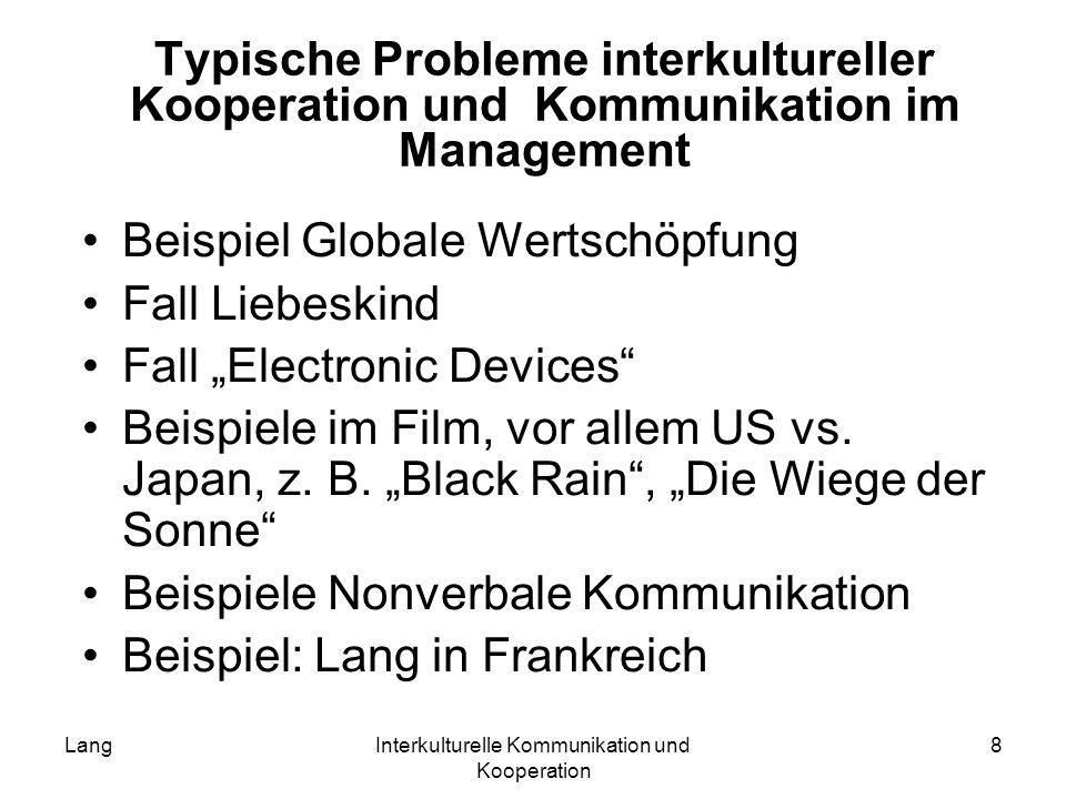 LangInterkulturelle Kommunikation und Kooperation 8 Typische Probleme interkultureller Kooperation und Kommunikation im Management Beispiel Globale We