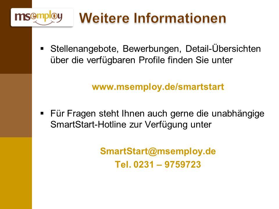 Stellenangebote, Bewerbungen, Detail-Übersichten über die verfügbaren Profile finden Sie unter www.msemploy.de/smartstart Für Fragen steht Ihnen auch