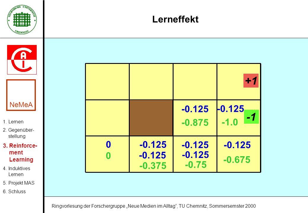 Lerneffekt 1. Lernen 2. Gegenüber- stellung 3. Reinforce- ment Learning 4. Induktives Lernen 5. Projekt MAS 6. Schluss NeMeA Ringvorlesung der Forsche
