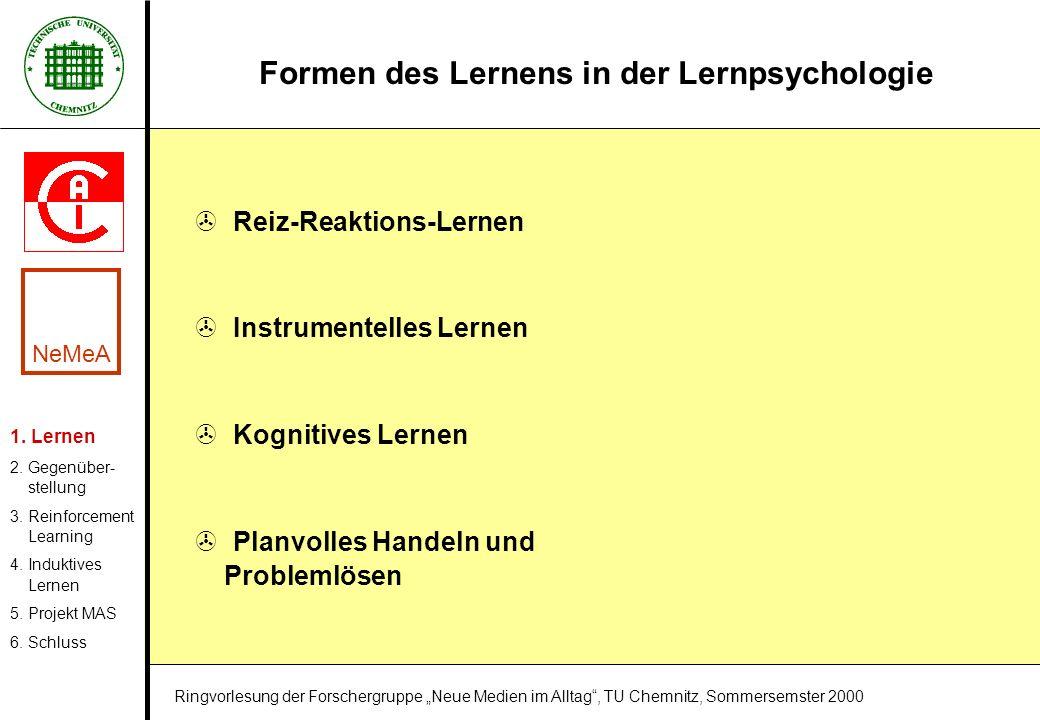 Formen des Lernens in der Lernpsychologie > Reiz-Reaktions-Lernen > Instrumentelles Lernen > Kognitives Lernen > Planvolles Handeln und Problemlösen 1
