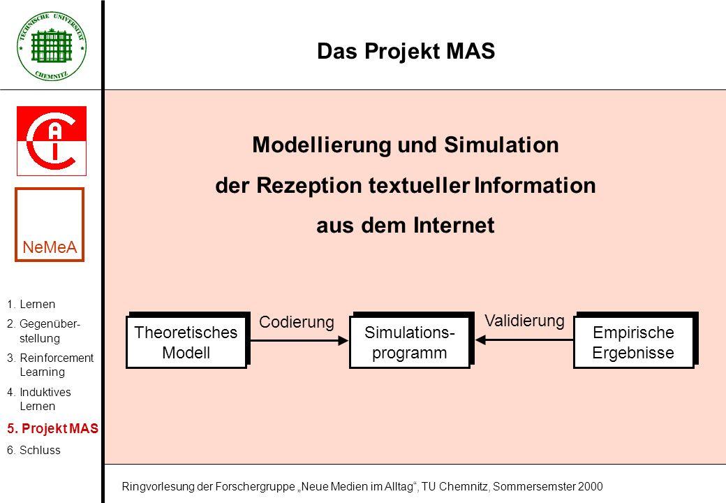 Das Projekt MAS Modellierung und Simulation der Rezeption textueller Information aus dem Internet 1. Lernen 2. Gegenüber- stellung 3. Reinforcement Le
