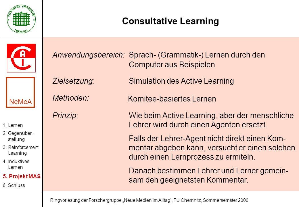 Consultative Learning 1. Lernen 2. Gegenüber- stellung 3. Reinforcement Learning 4. Induktives Lernen 5. Projekt MAS 6. Schluss NeMeA Ringvorlesung de