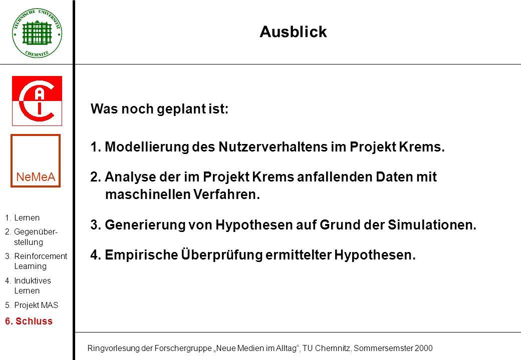 Ausblick 1. Lernen 2. Gegenüber- stellung 3. Reinforcement Learning 4. Induktives Lernen 5. Projekt MAS 6. Schluss 1. Modellierung des Nutzerverhalten
