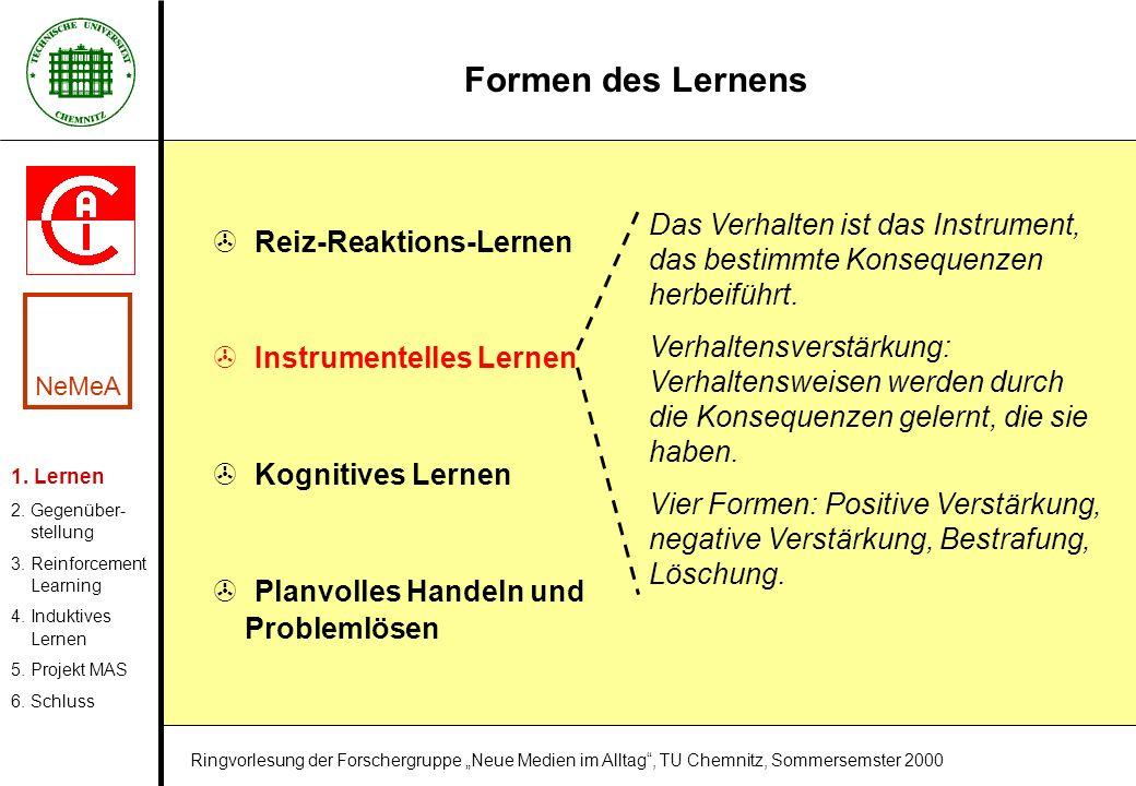 Formen des Lernens > Reiz-Reaktions-Lernen > Instrumentelles Lernen > Kognitives Lernen > Planvolles Handeln und Problemlösen Das Verhalten ist das In