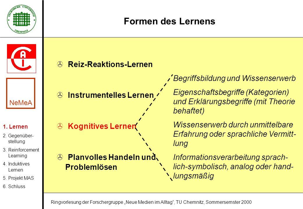 Formen des Lernens > Reiz-Reaktions-Lernen > Instrumentelles Lernen > Kognitives Lernen > Planvolles Handeln und Problemlösen Begriffsbildung und Wiss