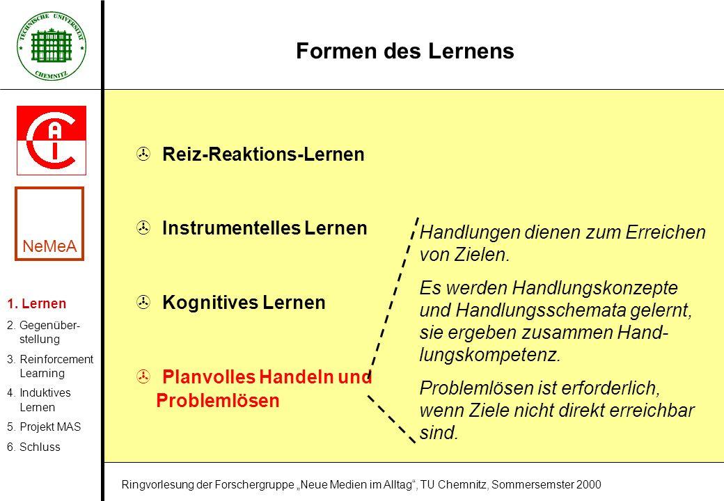 Formen des Lernens > Reiz-Reaktions-Lernen > Instrumentelles Lernen > Kognitives Lernen > Planvolles Handeln und Problemlösen Handlungen dienen zum Er