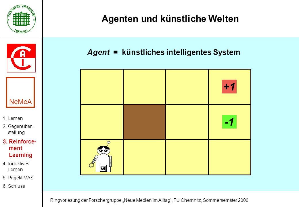 Agenten und künstliche Welten Agent = künstliches intelligentes System +1 1. Lernen 2. Gegenüber- stellung 3. Reinforce- ment Learning 4. Induktives L