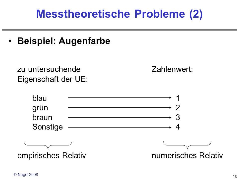 © Nagel 2008 10 Messtheoretische Probleme (2) Beispiel: Augenfarbe zu untersuchende Zahlenwert: Eigenschaft der UE: blau 1 grün2 braun3 Sonstige4 empi