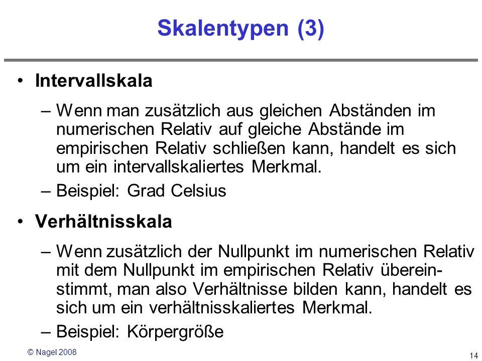 © Nagel 2008 14 Skalentypen (3) Intervallskala –Wenn man zusätzlich aus gleichen Abständen im numerischen Relativ auf gleiche Abstände im empirischen
