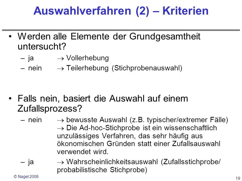 © Nagel 2008 19 Auswahlverfahren (2) – Kriterien Werden alle Elemente der Grundgesamtheit untersucht? –ja Vollerhebung –nein Teilerhebung (Stichproben