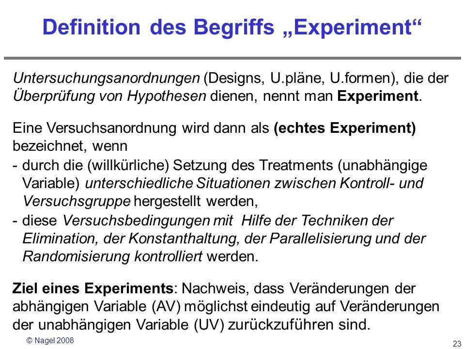 © Nagel 2008 23 Definition des Begriffs Experiment Untersuchungsanordnungen (Designs, U.pläne, U.formen), die der Überprüfung von Hypothesen dienen, n