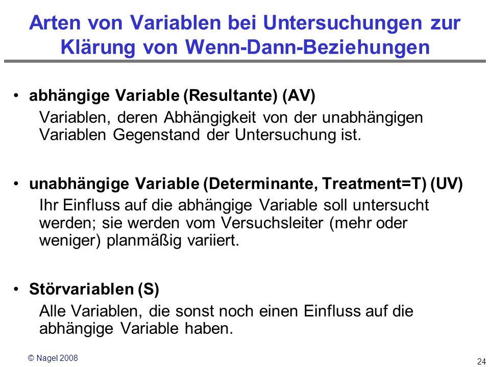 © Nagel 2008 24 Arten von Variablen bei Untersuchungen zur Klärung von Wenn-Dann-Beziehungen abhängige Variable (Resultante) (AV) Variablen, deren Abh