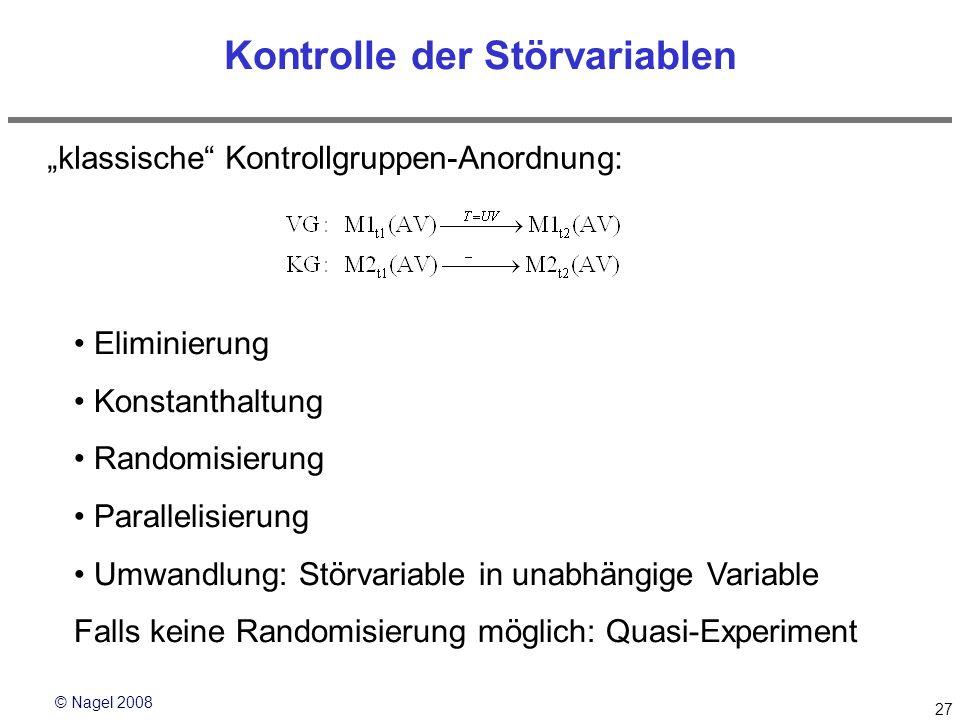 © Nagel 2008 27 Kontrolle der Störvariablen klassische Kontrollgruppen-Anordnung: Eliminierung Konstanthaltung Randomisierung Parallelisierung Umwandl
