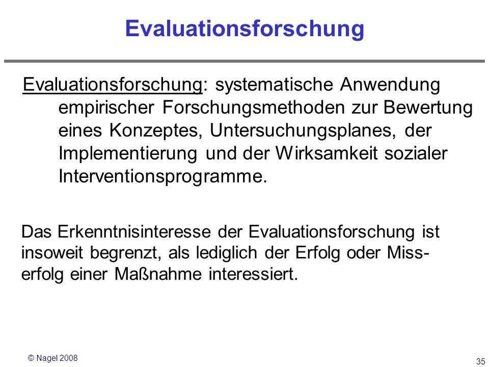 © Nagel 2008 35 Evaluationsforschung Evaluationsforschung: systematische Anwendung empirischer Forschungsmethoden zur Bewertung eines Konzeptes, Unter