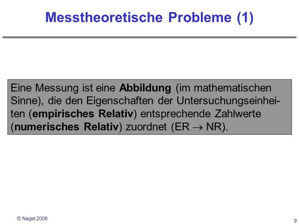 © Nagel 2008 10 Messtheoretische Probleme (2) Beispiel: Augenfarbe zu untersuchende Zahlenwert: Eigenschaft der UE: blau 1 grün2 braun3 Sonstige4 empirisches Relativnumerisches Relativ