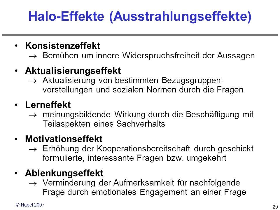 © Nagel 2007 29 Halo-Effekte (Ausstrahlungseffekte) Konsistenzeffekt Bemühen um innere Widerspruchsfreiheit der Aussagen Aktualisierungseffekt Aktuali