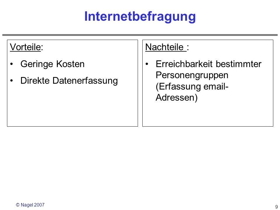 © Nagel 2007 9 Internetbefragung Vorteile: Geringe Kosten Direkte Datenerfassung Nachteile : Erreichbarkeit bestimmter Personengruppen (Erfassung emai
