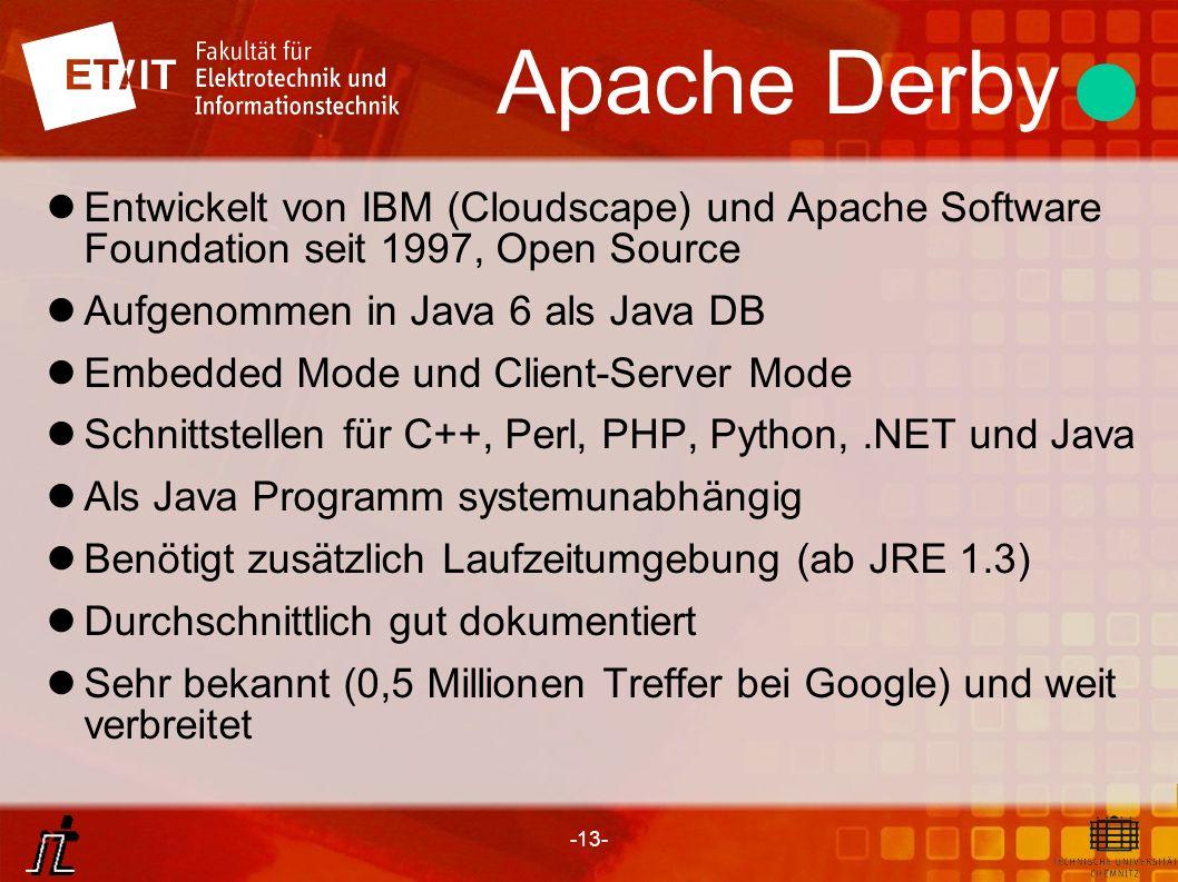 -13- Apache Derby Entwickelt von IBM (Cloudscape) und Apache Software Foundation seit 1997, Open Source Aufgenommen in Java 6 als Java DB Embedded Mod