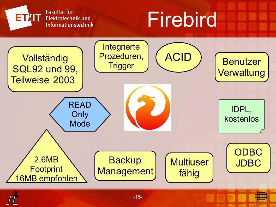 -15- Firebird Vollständig SQL92 und 99, Teilweise 2003 ODBC JDBC 2,6MB Footprint 16MB empfohlen ACID Integrierte Prozeduren, Trigger IDPL, kostenlos M