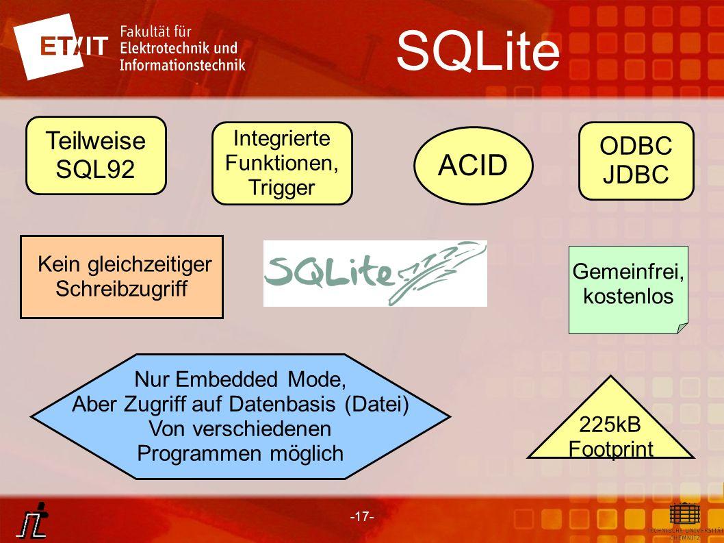 -17- SQLite Teilweise SQL92 ODBC JDBC 225kB Footprint ACID Integrierte Funktionen, Trigger Gemeinfrei, kostenlos Kein gleichzeitiger Schreibzugriff Nu