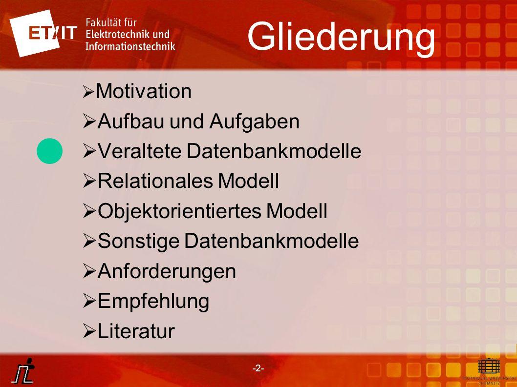 -2- Gliederung Motivation Aufbau und Aufgaben Veraltete Datenbankmodelle Relationales Modell Objektorientiertes Modell Sonstige Datenbankmodelle Anfor