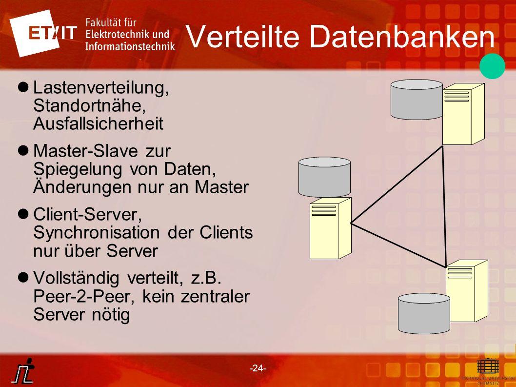 -24- Verteilte Datenbanken Lastenverteilung, Standortnähe, Ausfallsicherheit Master-Slave zur Spiegelung von Daten, Änderungen nur an Master Client-Se