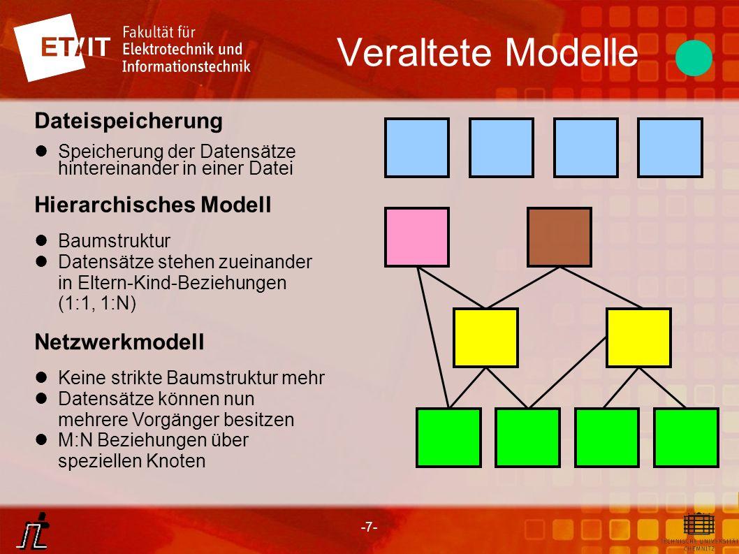-8- Veraltete Modelle Vorteile satzorientierter Datenbanken Schneller Zugriff auf die gespeicherten Datensätze Sehr gut geeignet für hierarchische Daten wie XML (XML-Datenbanken) Nachteile satzorientierter Datenbanken Kenntnis über genaue Struktur der Daten (keine strukturelle Datenunabhängigkeit), man muss sich zum gewünschten Datensatz erst durchsuchen Komplizierte Implementierung von komplexen Systemen