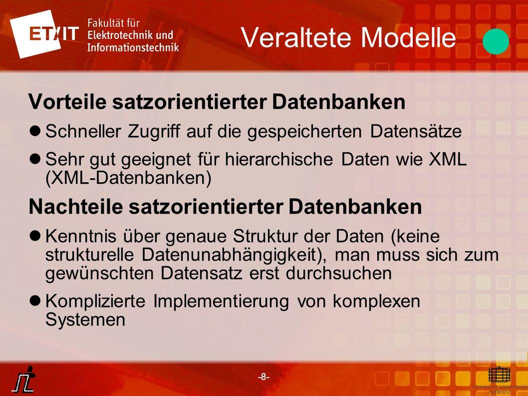 -8- Veraltete Modelle Vorteile satzorientierter Datenbanken Schneller Zugriff auf die gespeicherten Datensätze Sehr gut geeignet für hierarchische Dat