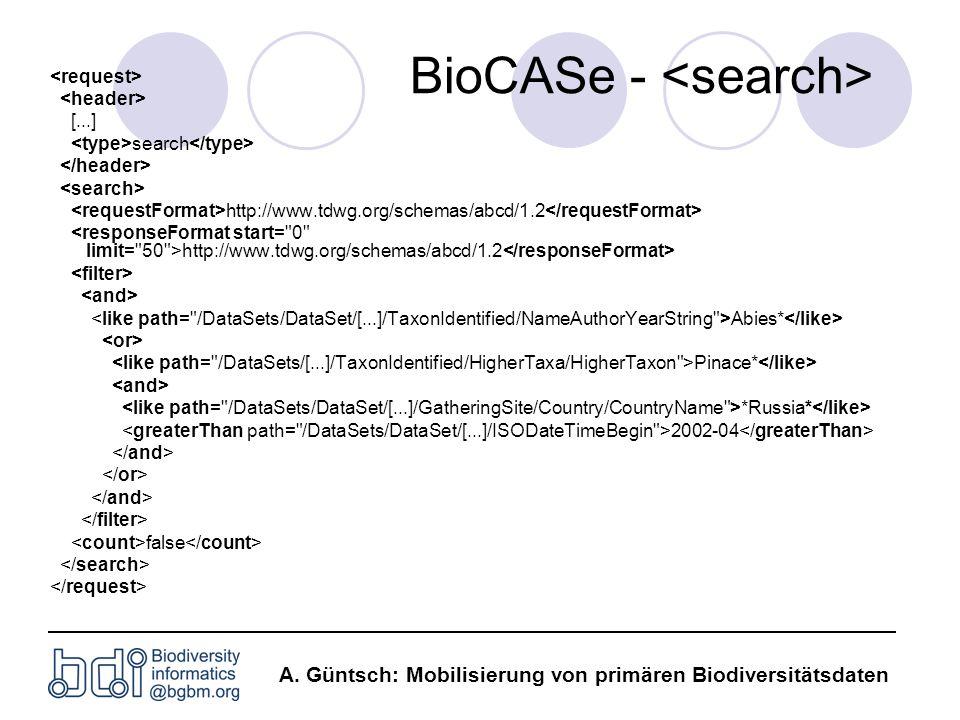 A. Güntsch: Mobilisierung von primären Biodiversitätsdaten BioCASe - [...] search http://www.tdwg.org/schemas/abcd/1.2 Abies* Pinace* *Russia* 2002-04