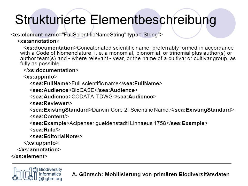 A. Güntsch: Mobilisierung von primären Biodiversitätsdaten Strukturierte Elementbeschreibung Concatenated scientific name, preferrably formed in accor