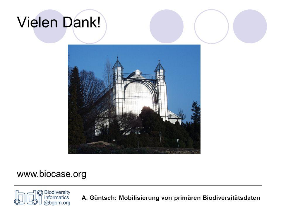 A. Güntsch: Mobilisierung von primären Biodiversitätsdaten Vielen Dank! www.biocase.org