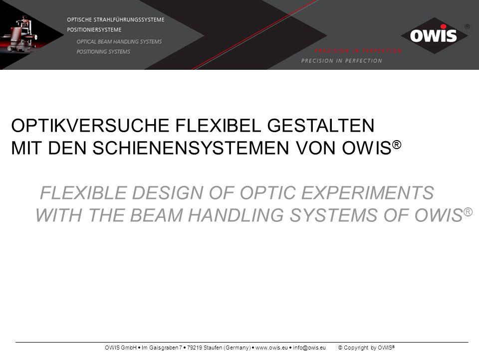 OWIS GmbH Im Gaisgraben 7 79219 Staufen (Germany) www.owis.eu info@owis.eu © Copyright by OWIS ® OPTIKVERSUCHE FLEXIBEL GESTALTEN MIT DEN SCHIENENSYST