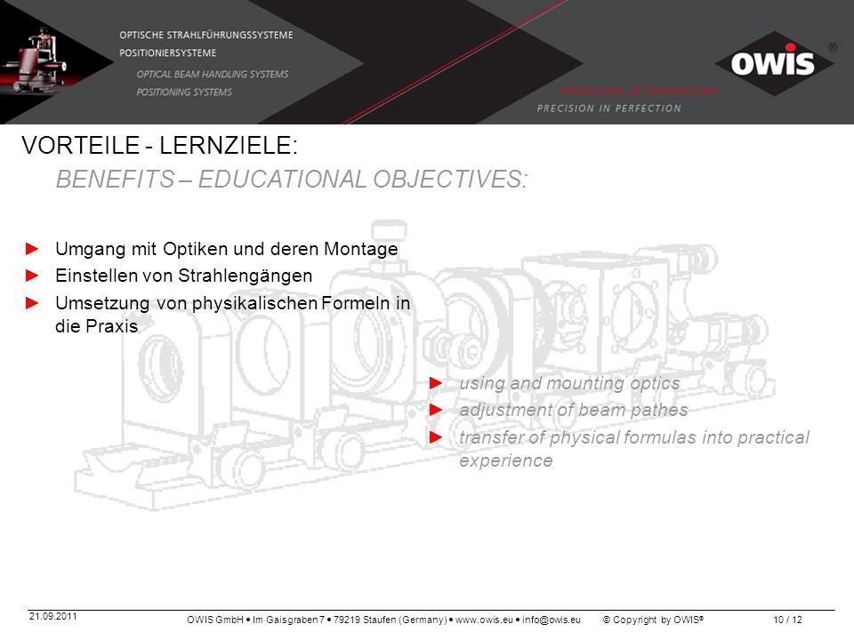 OWIS GmbH Im Gaisgraben 7 79219 Staufen (Germany) www.owis.eu info@owis.eu © Copyright by OWIS ® 21.09.2011 10 / 12 VORTEILE - LERNZIELE: BENEFITS – E