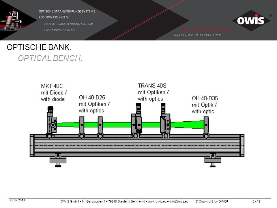 OWIS GmbH Im Gaisgraben 7 79219 Staufen (Germany) www.owis.eu info@owis.eu © Copyright by OWIS ® 21.09.2011 5 / 12 OPTISCHE BANK: OPTICAL BENCH: