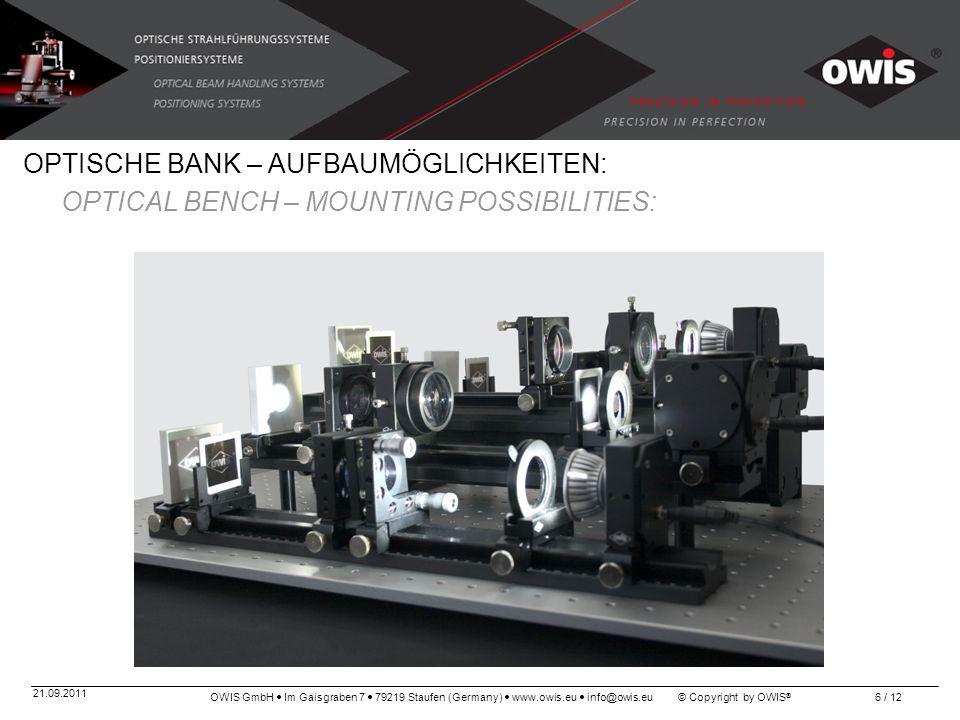 OWIS GmbH Im Gaisgraben 7 79219 Staufen (Germany) www.owis.eu info@owis.eu © Copyright by OWIS ® 21.09.2011 6 / 12 OPTISCHE BANK – AUFBAUMÖGLICHKEITEN