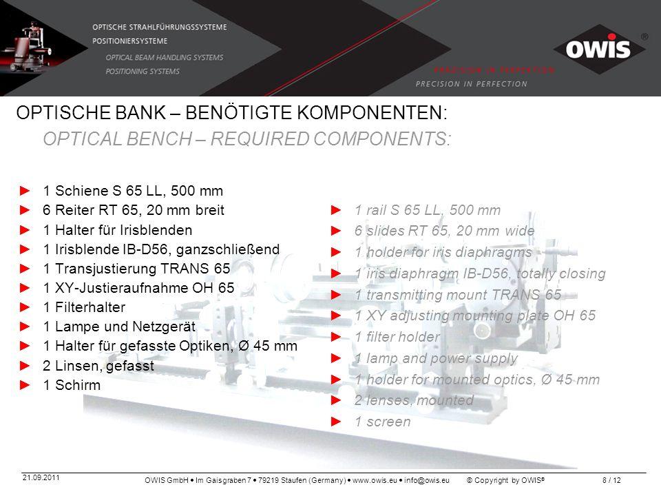 OWIS GmbH Im Gaisgraben 7 79219 Staufen (Germany) www.owis.eu info@owis.eu © Copyright by OWIS ® 21.09.2011 8 / 12 OPTISCHE BANK – BENÖTIGTE KOMPONENT