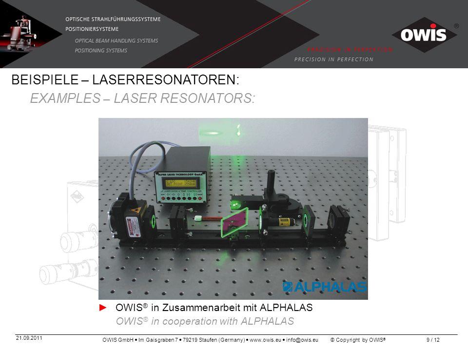 OWIS GmbH Im Gaisgraben 7 79219 Staufen (Germany) www.owis.eu info@owis.eu © Copyright by OWIS ® 21.09.2011 9 / 12 BEISPIELE – LASERRESONATOREN: EXAMP