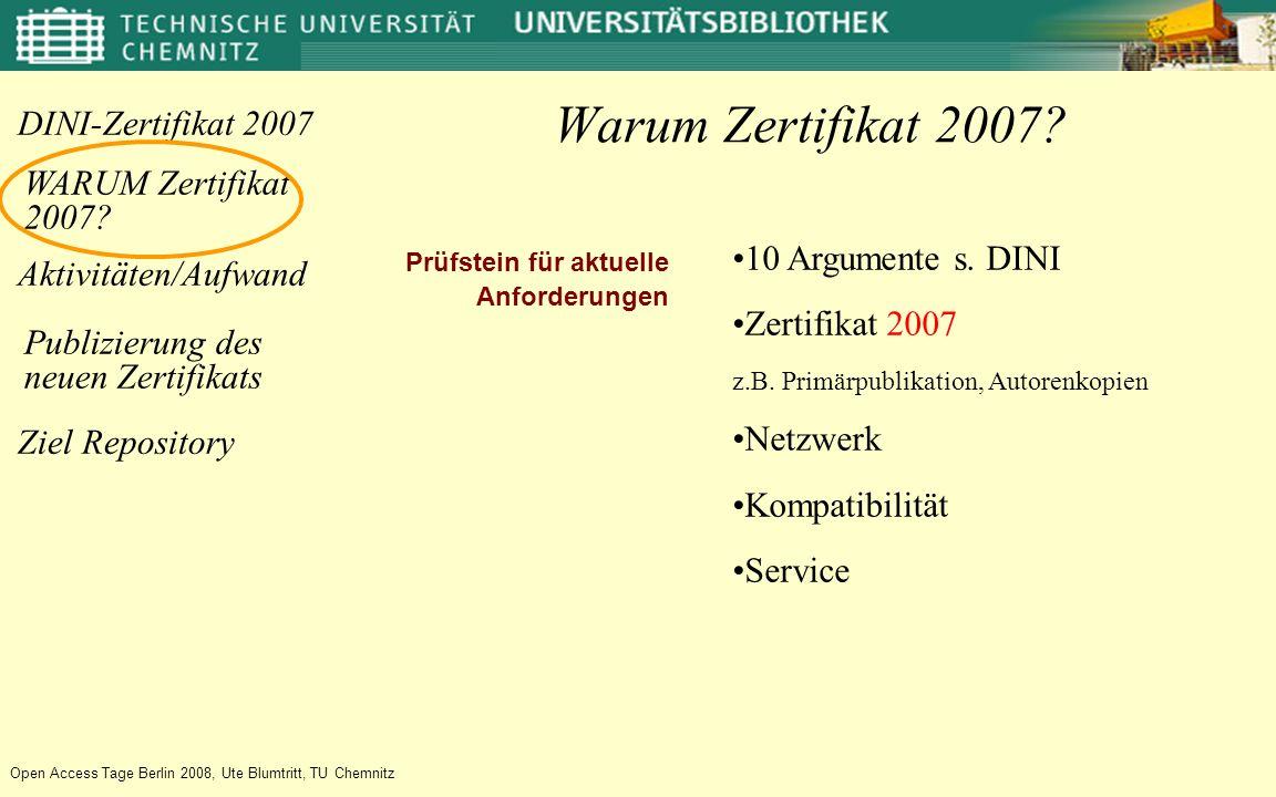 Aktivitäten/Aufwand WARUM Zertifikat 2007.