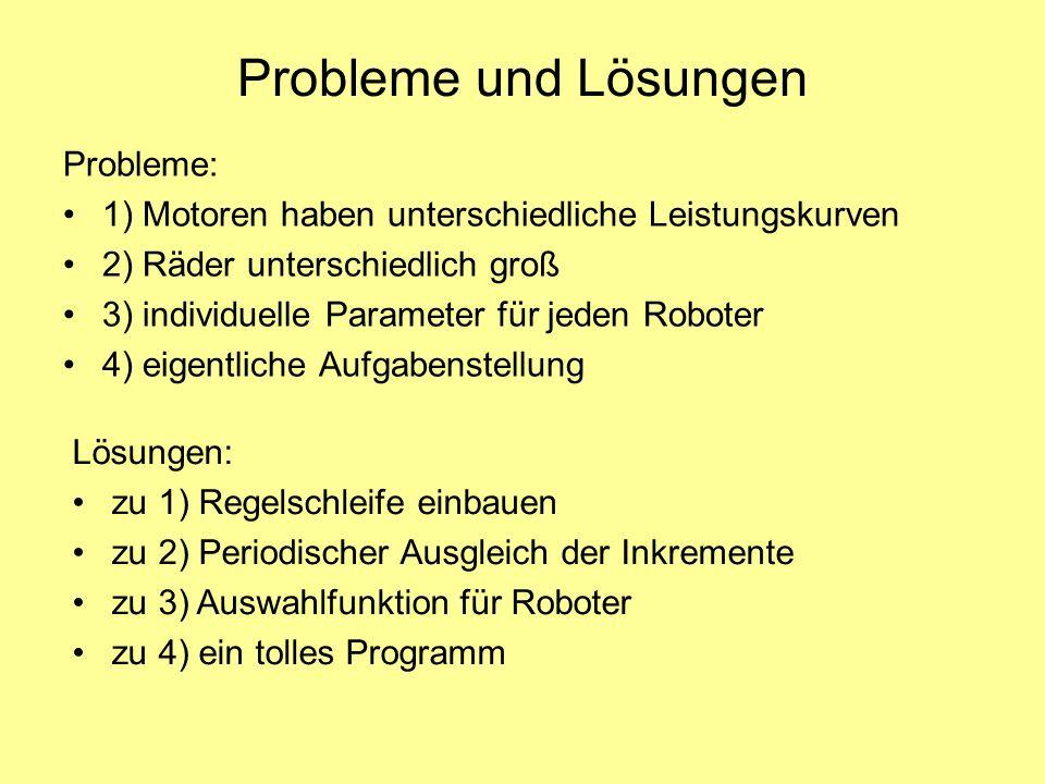 Probleme und Lösungen Probleme: 1) Motoren haben unterschiedliche Leistungskurven 2) Räder unterschiedlich groß 3) individuelle Parameter für jeden Ro