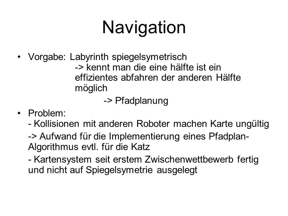 Navigation Vorgabe: Labyrinth spiegelsymetrisch -> kennt man die eine hälfte ist ein effizientes abfahren der anderen Hälfte möglich -> Pfadplanung Problem: - Kollisionen mit anderen Roboter machen Karte ungültig -> Aufwand für die Implementierung eines Pfadplan- Algorithmus evtl.