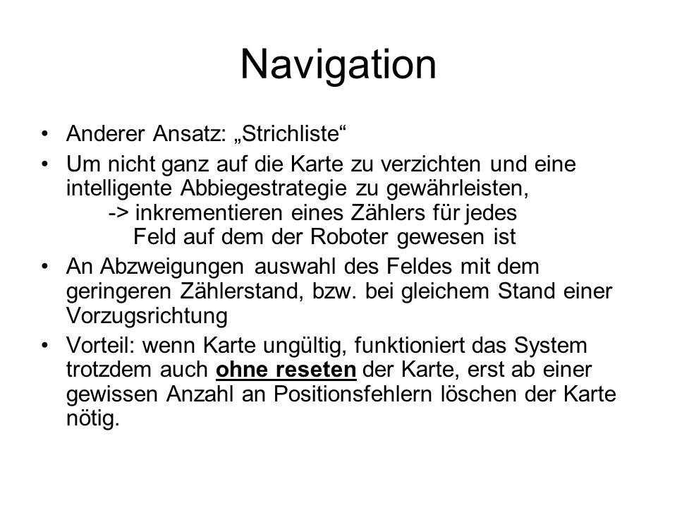 Navigation Anderer Ansatz: Strichliste Um nicht ganz auf die Karte zu verzichten und eine intelligente Abbiegestrategie zu gewährleisten, -> inkrementieren eines Zählers für jedes Feld auf dem der Roboter gewesen ist An Abzweigungen auswahl des Feldes mit dem geringeren Zählerstand, bzw.