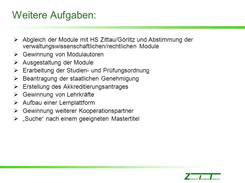 Weitere Aufgaben: Abgleich der Module mit HS Zittau/Görlitz und Abstimmung der verwaltungswissenschaftlichen/rechtlichen Module Gewinnung von Modulaut
