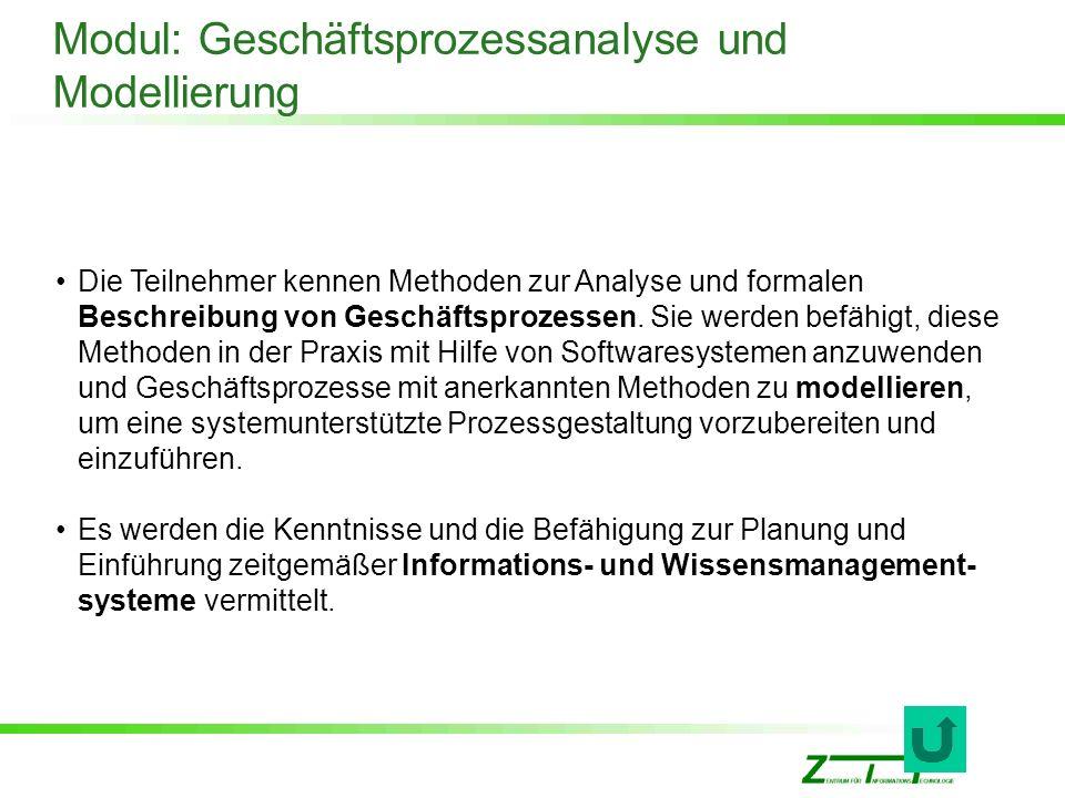 Modul: Geschäftsprozessanalyse und Modellierung Die Teilnehmer kennen Methoden zur Analyse und formalen Beschreibung von Geschäftsprozessen. Sie werde